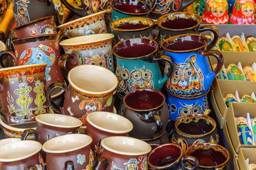 Sale of traditional handmade clay ware. Russia, Suzdal, September 2017.