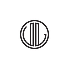 Initial letter UL, VL, minimalist line art monogram circle shape logo, black color