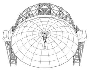 Radio Telescope concept outline. Vector
