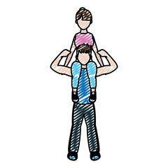 doodle man carrying on the shoulder woman training