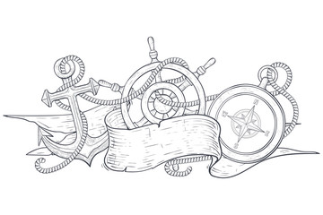 Anchor, steering wheel and compass, tangled with rope and ribbon banner. Hand drawn sketch