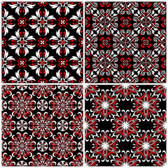 Seamless backgrounds. Black white and red classic sets with floral patterns