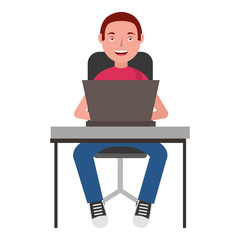 man with laptop in chair avatar character vector illustration design