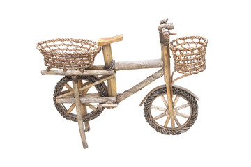 old wooden and rattan  bicycle toy isolated on white