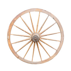 Old wooden cartwheel isolated on white