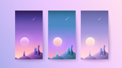 Backgrounds for phones and smartphones with landscape during the dawn or summer sunset Set of vertical abstract gradient templates