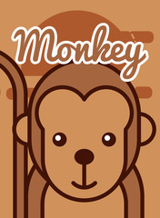 monkey cartoon poster african animal vector illustration