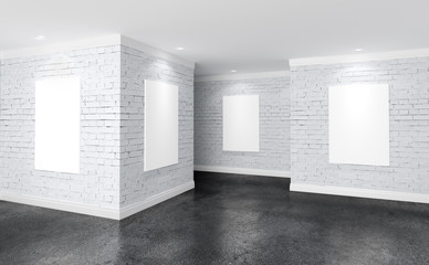 Modern gallery room with directional spotlight and poster frames. Product artwork exhibition mock up. White canvases. 3d rendering illustration of interior with rough white brick walls in perspective
