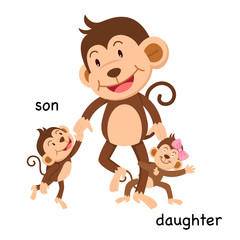 Opposite son and daughter vector illustration