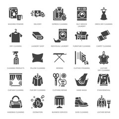 Dry cleaning, laundry flat glyph icons. Launderette service equipment, washer machine, shoe shine, clothes repair, garment ironing and steaming. Washing signs. Solid silhouette pixel perfect 64x64.