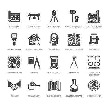 Geodetic survey engineering vector flat glyph icons. Geodesy equipment, tacheometer, theodolite. Geological research, building measurements. Construction signs. Solid silhouette pixel perfect 64x64.