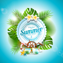 Vector Enjoy the Summer Holiday typographic illustration on white badge and tropical plants background. Flower, sunglasses and marine elements with blue sky. Design template for banner, flyer