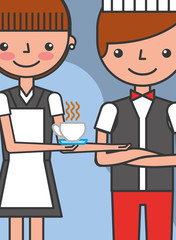 maid woman and waiter with coffee cup employees vector illustration