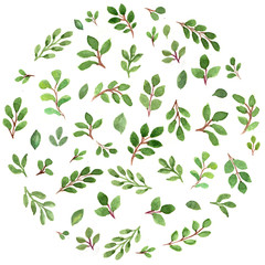 Patterned round with green leaves