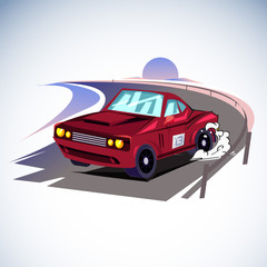 Racing car drif on the road with beach and sunset background - vector