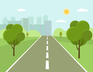 Road to the city. Urban buildings on the horizon. Vector flat style illustration