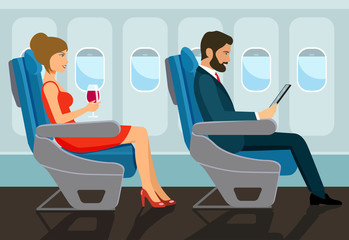 Passengers young beautiful girl and man character sitting in chair on the plane . Vector flat style illustration