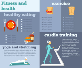 Fitness and health flat infographic
