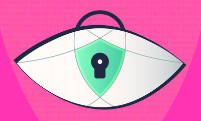 Illustration of an eye, locked and watching on a binary code