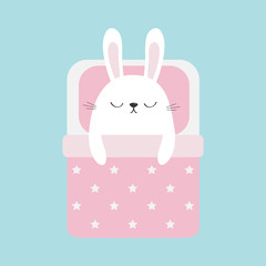 Sleeping rabbit bunny. Baby pet animal collection for kids. Cute cartoon character. Funny head face. Bed, pink blanket dot and pillow. Blue pastel background. Isolated. Flat design.