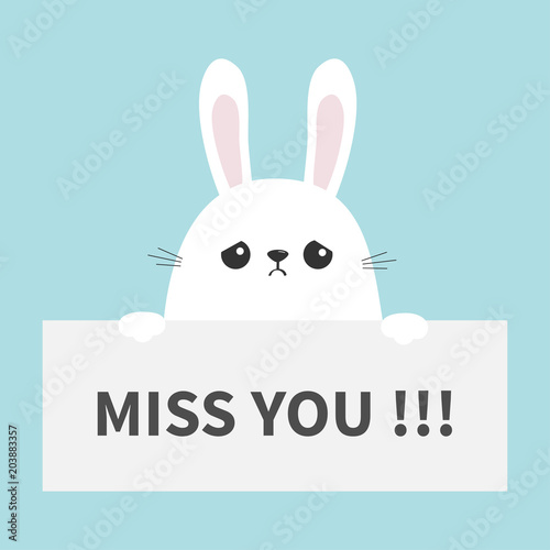 White Sad Bunny Rabbit Hanging On Paper Board Miss You Funny Head