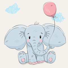 Cute little cartoon elephant hand drawn vector illustration. Can be used for baby t-shirt print, fashion print design, kids wear, baby shower celebration, greeting and invitation card.