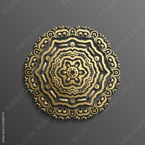 islamic 3d gold on dark mandala round ornament background architectural muslim texture design can be