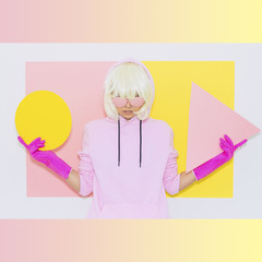 Tomboy Blonde Girl in Fashion pink accessory sunglasses holds triangle and circle on gradient background. Club Party Style. Synth wave vibes