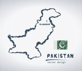Pakistan vector chalk drawing map isolated on a white background