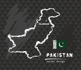 Pakistan map, vector pen drawing on black background
