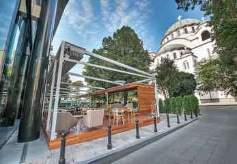 Modern restaurant terrace in the summer
