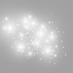 White sparks glitter special light effect. Vector sparkles on transparent background. Christmas abstract pattern.