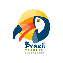 Brazil Carnival logo design, bright fest.ive party banner or poster with toucan bird vector Illustration on a white background