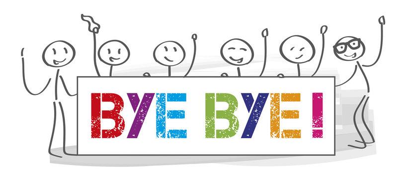 Team who says goodbye - vector illustration