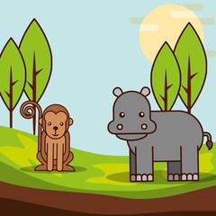 monkey and hippo in jungle safari animals cartoon vector illustration