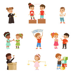 Kind and fair little children set, kids protecting friends, sharing with each other, carrying out justice vector Illustrations on a white background