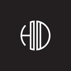 Initial letter HD, HO, minimalist line art monogram circle shape logo, white color on black background