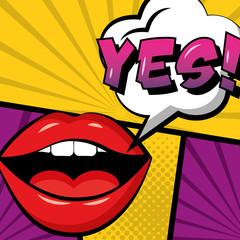 pop art comic book lips yes in speech bubble vector illustration