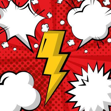 pop art comic thunderbolt speech bubbles pattern vector illustration