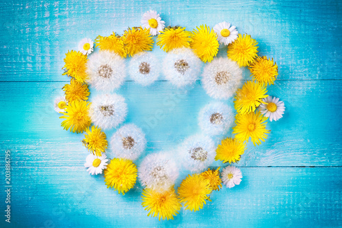 Creative Floral Summer Composition Wreath Frame In Form Of Heart
