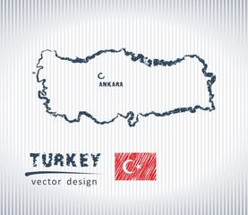 Turkey national vector drawing map on white background