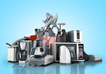 Home appliances Group of vacuum cleaner microwave iron coffee maker steam kettle toaster meat grinder on blue background 3d