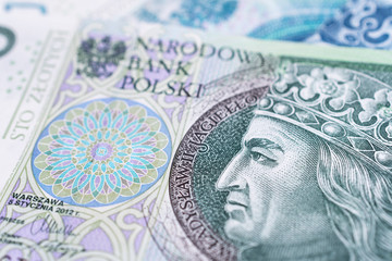 Close up on a 100 Polish zloty banknote