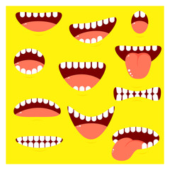 Set of mouths cartoon with different emotion