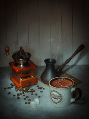 coffee, morning, grains, ground, texture, mood, flavor, coffee Turk, mug, steam
