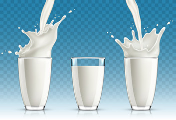 Set of milk splashing from the glass isolated on transparent background
