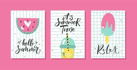 Vector set of bright summer cards. Posters with watermelon, ice cream, lemonade and hand written text.