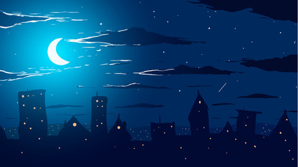 Vector illustration. City against stars and moon at night.