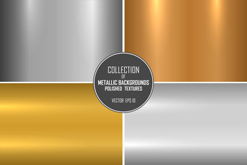 Collection of realistic metallic textures. Shiny polished metal backgrounds for your design