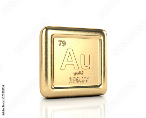Golden Element Aurum, an element of a periodic table. Ingot of gold ...